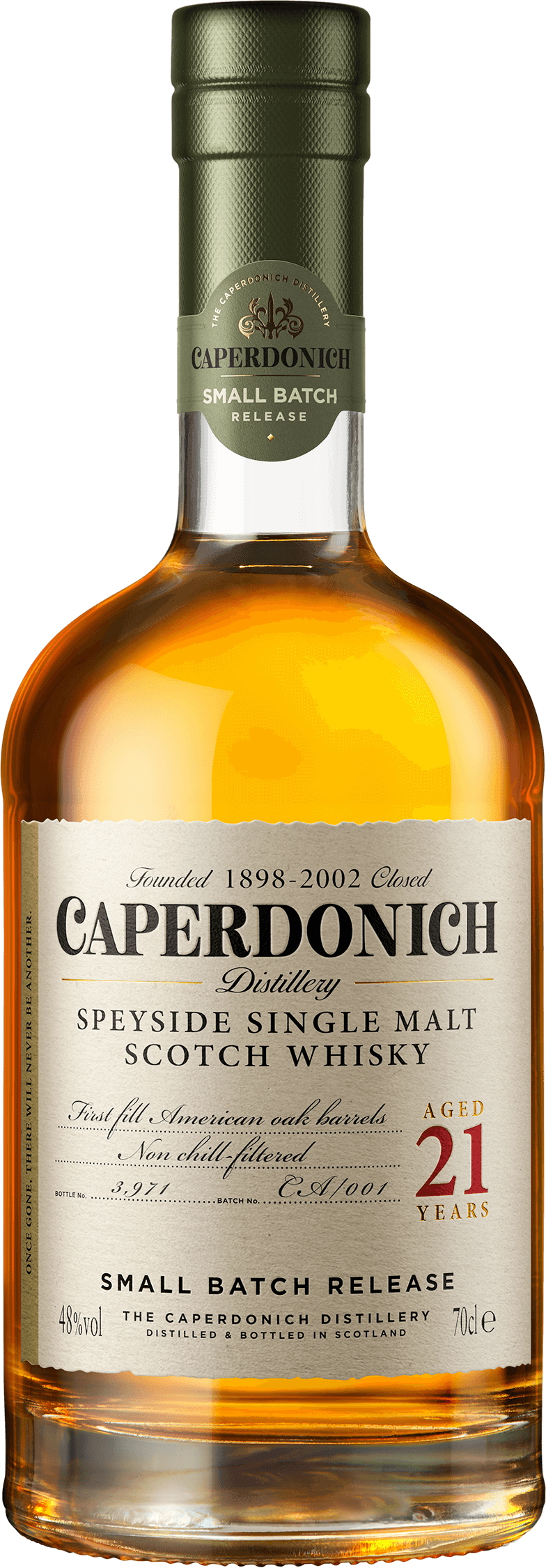 Bottle of caperdonich unpeated 21 years