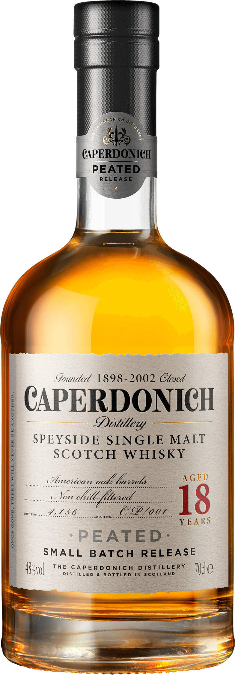 Bottle of caperdonich peated 18 years
